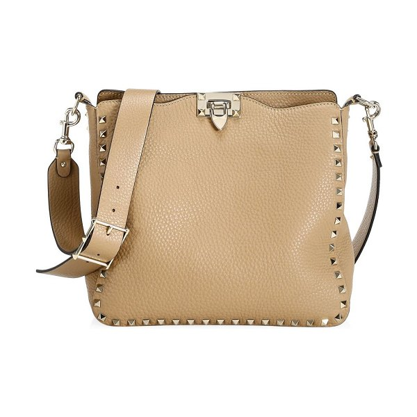 Valentino small rockstud leather hobo bag in camel