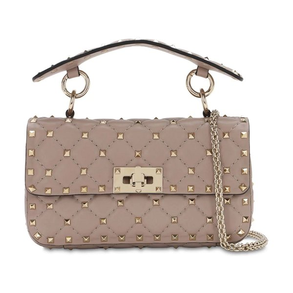 Valentino Small spike leather shoulder bag in poudre