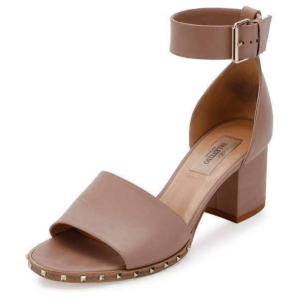 Valentino Soul Rockstud 65mm City Sandal in poudre - Valentino napa leather city sandal. Signature Rockstuds...