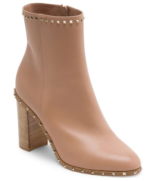Valentino soul rockstud leather booties in skinsorbet - Sleek leather stacked heel bootie with studded trim....
