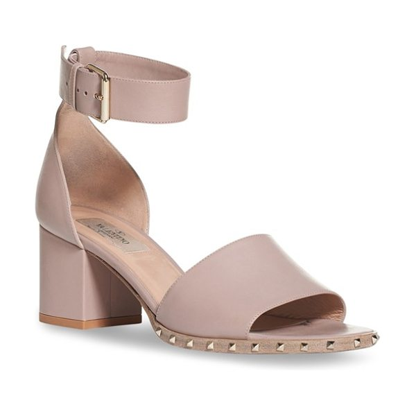 Valentino 'soul stud' block heel sandal in nude leather - Tiny pyramid studs gleam at the sole of a refined,...