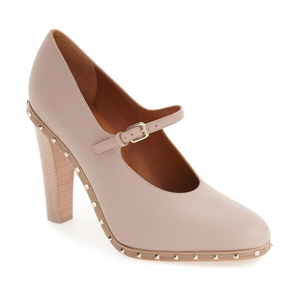 Valentino soul stud mary jane pump in nude leather - Valentino's signature Rockstud detailing takes on a more...