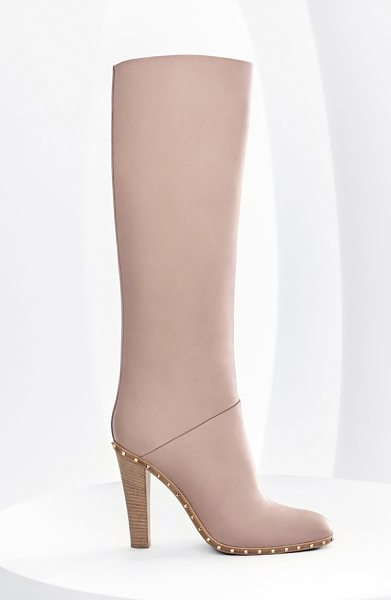 Valentino soul stud tall boot in nude leather - Tiny, glimmering pyramid studs add signature polish to...