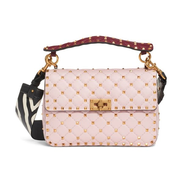 Valentino spike it leather shoulder bag in pink