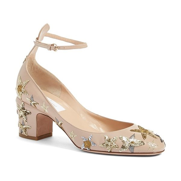 Valentino tango star studded ankle strap pump in beige leather - A constellation of shimmering, sequined stars...