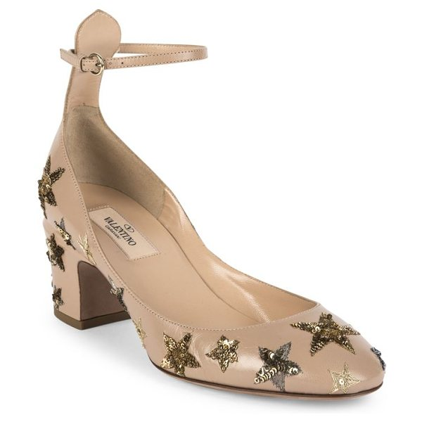 VALENTINO star-studded leather ankle-strap block heel pumps - Metallic sequined stars glamorize leather ankle-strap...
