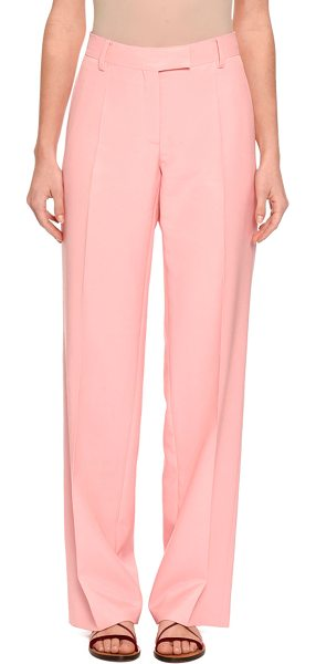 "Valentino Straight-Leg Crepe Trousers in pink - Valentino crepe trousers from the ""Garden of Earthly..."