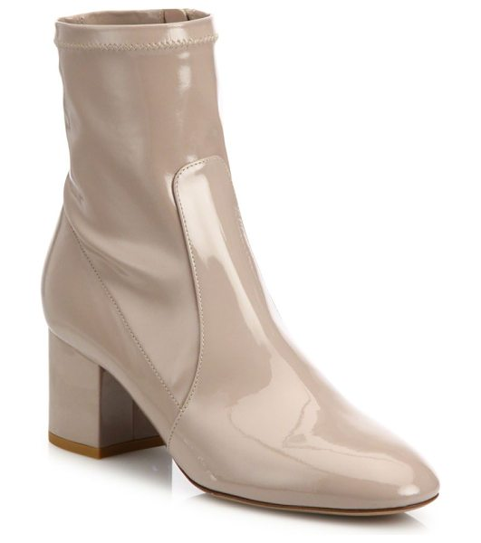 Valentino Stretch patent leather block-heel booties in poudre - Retro-chic patent leather bootie set on block heel....