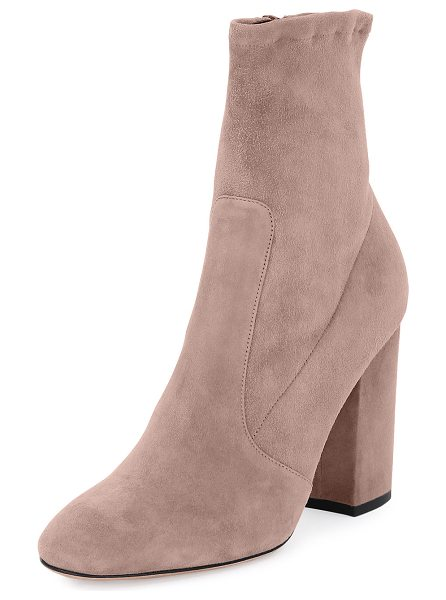 "Valentino Stretch-Suede Ankle Bootie in petal - Valentino Garavani stretch-suede ankle bootie. 4""..."