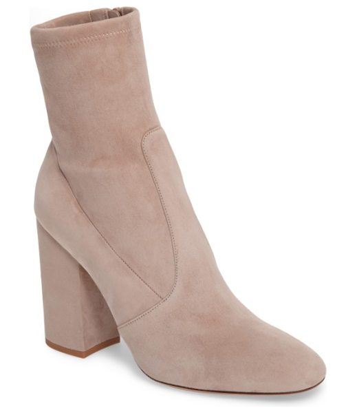 Valentino stretch suede bootie in poudre - A sculptural block heel grounds a stylish bootie crafted...