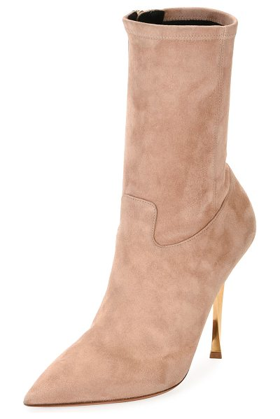 "VALENTINO Stretch-Suede Point-Toe Mid-Calf Boot - Valentino Garavani stretch-suede boot. 4.3"" metallic..."