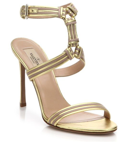 Valentino Striped metallic leather sandals in nude-gold
