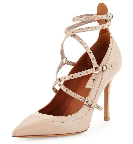 "Valentino Studded ankle-wrap pump in poudre - Valentino capretto (kidskin) leather pump. 4"" covered..."