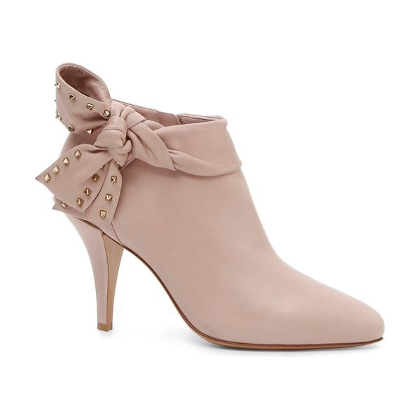 Valentino studded bow ankle bootie in poudre -