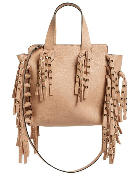 Valentino Studded fringe leather tote in skin sorbet - A perfect balance of rocker-glam and uptown luxe, this...