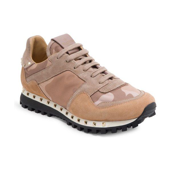 Valentino women's studded suede & camo sneakers in pink - Studded suede sneaker with tonal camo-print motif....