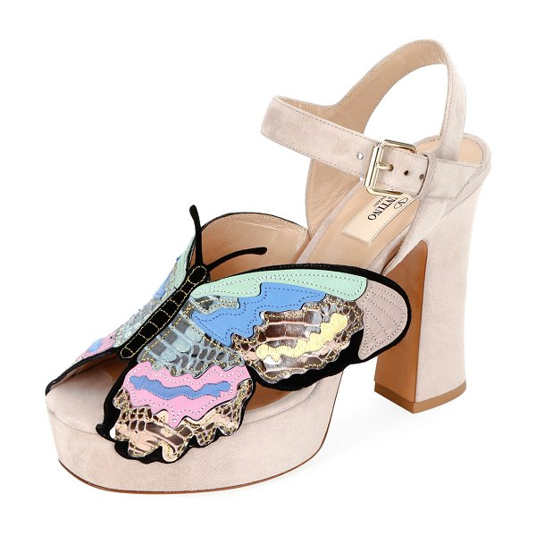 Valentino Suede Butterfly Platform Sandals in poudre