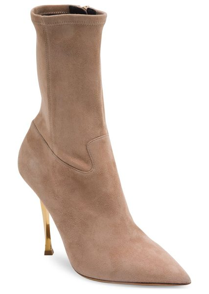 Valentino suede point toe booties in nude - Luxe suede ankle boot poised on twisted metallic heel....