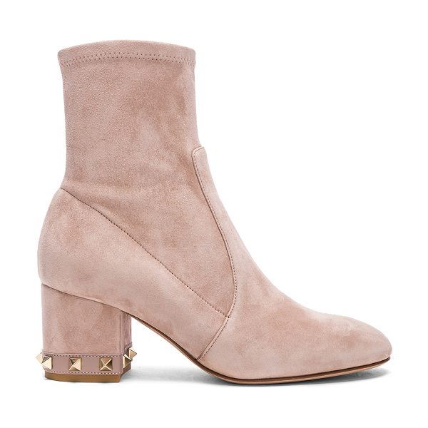 VALENTINO Suede Rockstud Trim Heel Ankle Boots in neutrals - Stretch suede upper with leather sole.  Made in Italy. ...