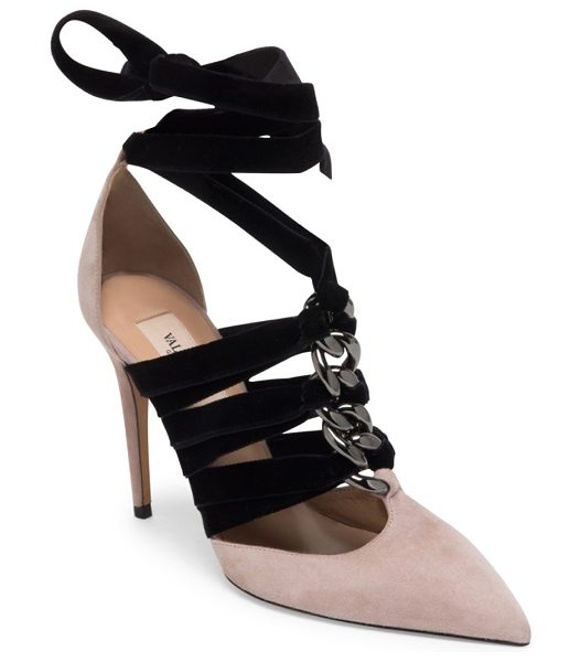 Valentino suede & velvet ankle-wrap pumps in blush - Luxe suede point toe pump with chain-woven velvet...