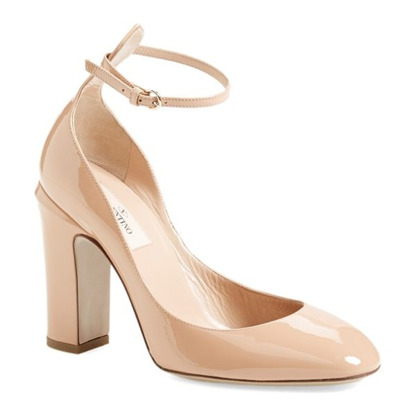 Valentino tango pump in poudre patent - A slender, delicate ankle strap tops a gorgeously glossy...
