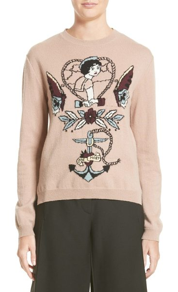 Valentino tattoo intarsia wool & cashmere sweater in nude - Knit from a luxuriously soft blend of virgin wool and...