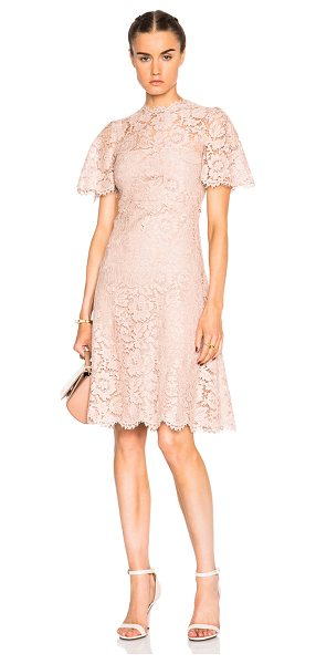 VALENTINO Tiered Long Lace Dress in pink - Self: 71% cotton 21% viscose 8% polyamide - Contrast...