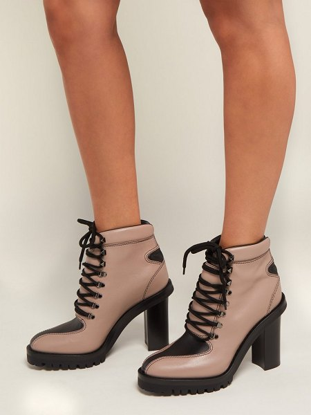 Valentino Trekking Lace Up Leather Boots in black nude - Valentino - Valentino reminagines their iconic Rockstuds...