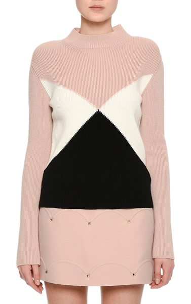 VALENTINO Tricolor Ribbed Virgin Wool Sweater - Valentino ribbed sweater featuring angular, bold,...