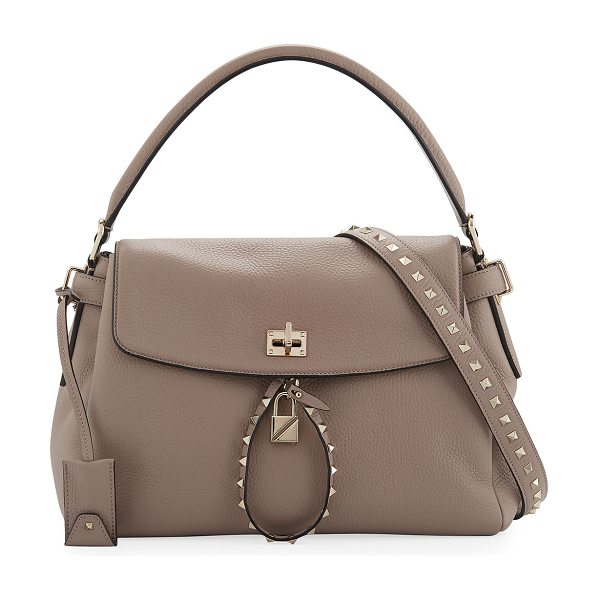 VALENTINO Twiny Single-Handle Rockstud Shoulder Bag in beige - Valentino Garavani pebbled leather shoulder bag. Approx....