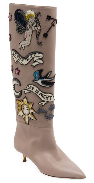 Valentino twisteel tall beaded leather boots in poudre