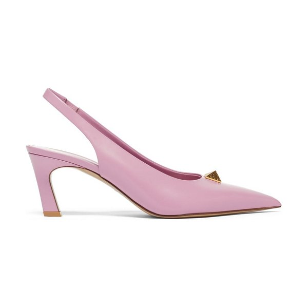 Valentino upstud point-toe leather slingback pumps in pink