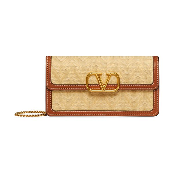 Valentino V-Logo Woven Bicolor Crossbody Bag in natural