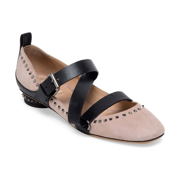 Valentino v-punk studded suede ballet flats in blush - Studded suede ballet flat with asymmetric leather...