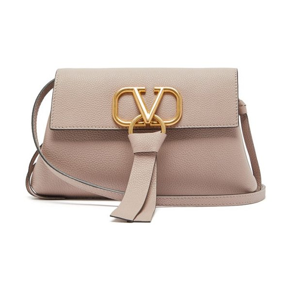 Valentino v ring small grained leather cross body bag in nude