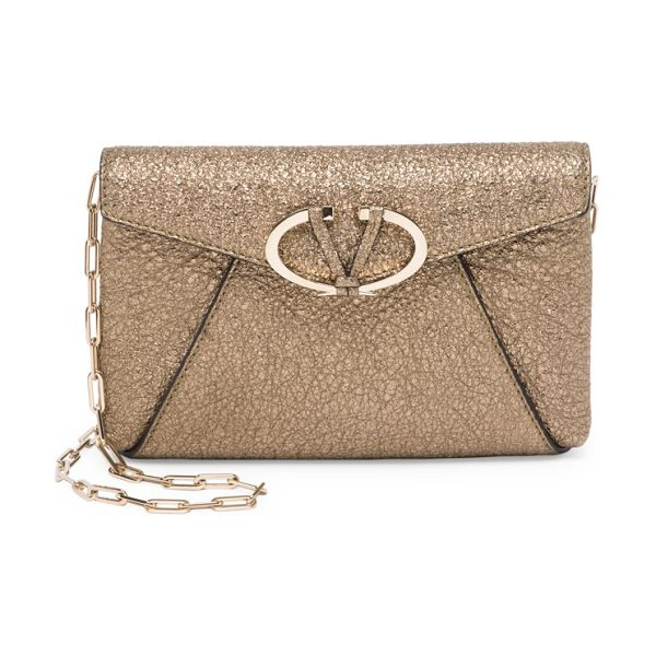 Valentino v rivet metallic leather chain clutch in gold - Crackled metallic envelope clutch with polished V...