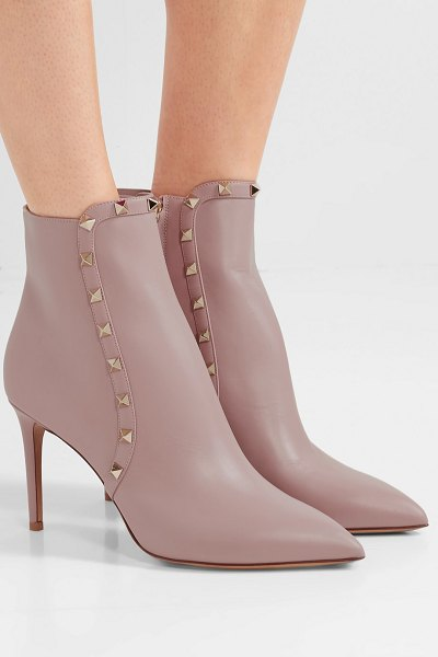 Valentino valentino garavani studded leather ankle boots in baby pink - Valentino Garavani's ankle boots have been crafted in...