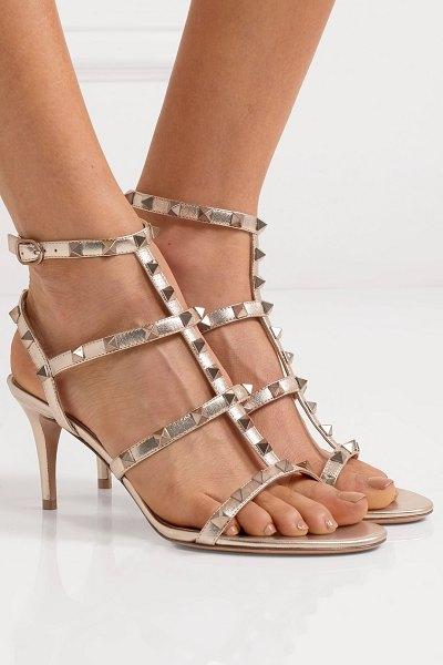 Valentino valentino garavani the rockstud 70 leather sandals in gold