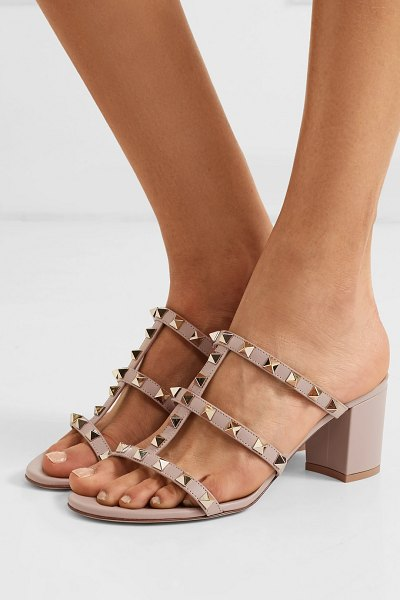 Valentino valentino garavani the rockstud 70 leather sandals in antique rose