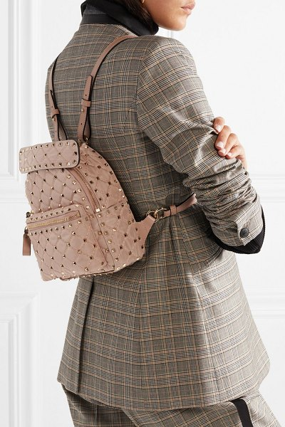 Valentino Garavani The Rockstud Spike Leather-Trimmed Quilted Satin-Twill  Backpack d4507e936a