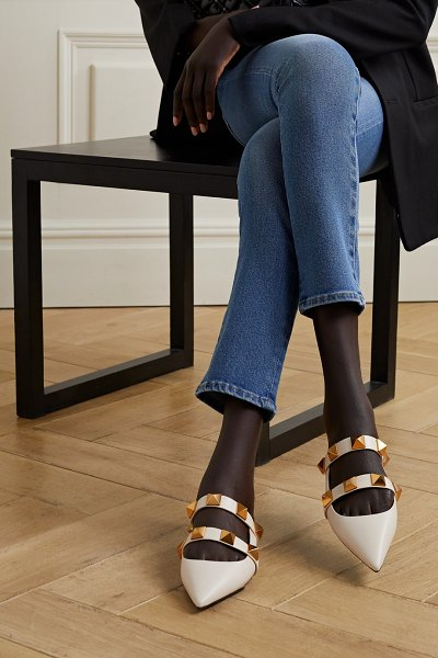 Valentino valentino garavani upstud leather point-toe slippers in ecru