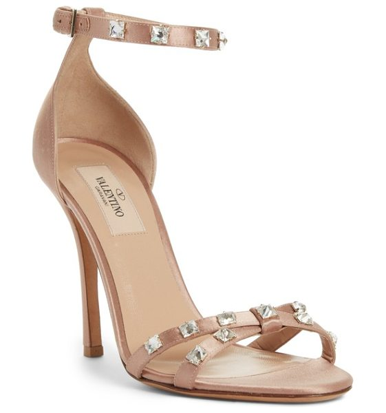 Valentino rockstud glam ankle strap sandal in beige - Edgy rockstuds go full-on glamorous with sparkling...