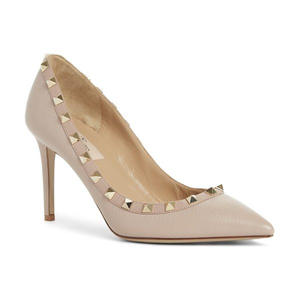 Valentino rockstud pointy toe pump in beige - Signature pyramid studs trace the chic silhouette of a...