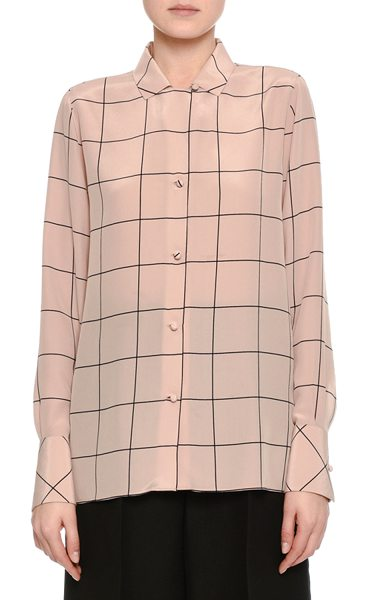 VALENTINO Windowpane Crêpe de Chine Shirt - Valentino crêpe de chine shirt in windowpane check....