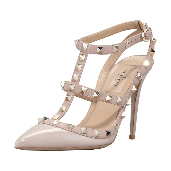 VALENTINO Rockstud Slingback 100mm Pump - Patent leather upper with tonal matte leather trim....