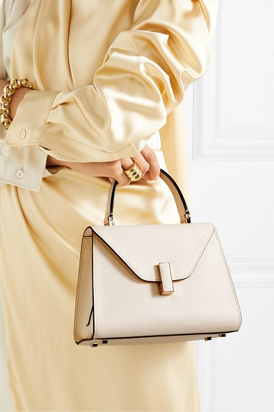 Valextra iside mini textured-leather tote in cream
