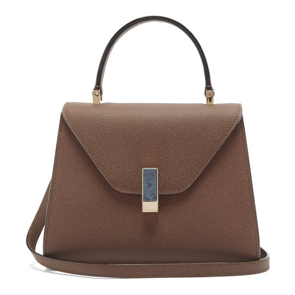 Valextra iside stone-clasp leather bag in brown
