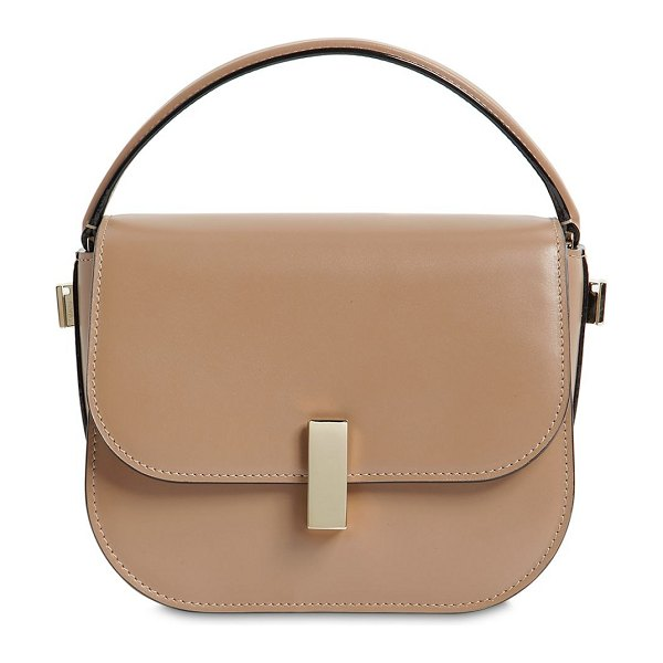 Valextra Mini iside brushed leather crossbody bag in beige - Height: 15cm   Width: 20cm   Depth: 10cm . Detachable...
