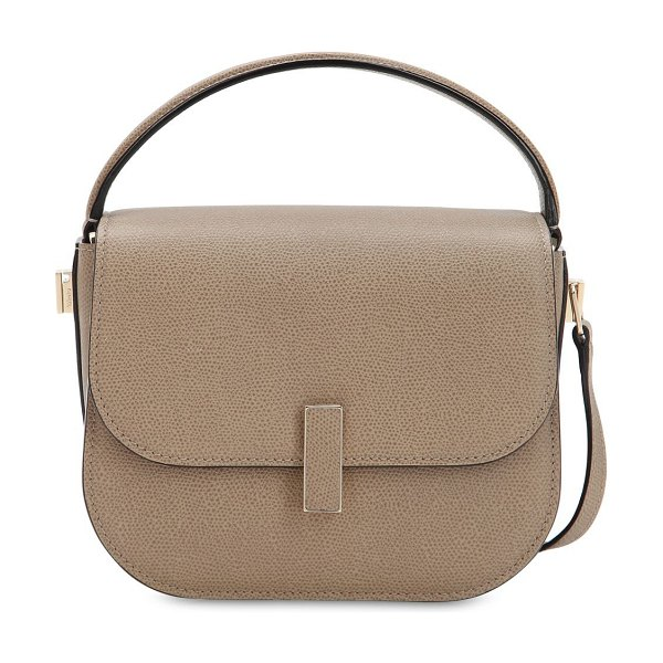 Valextra Mini iside grained leather crossbody bag in oyster