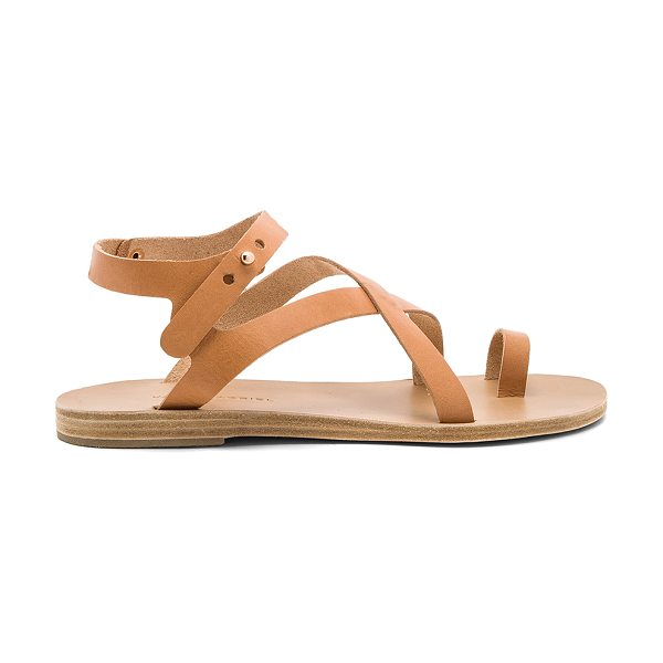 VALIA GABRIEL Arica Sandal in tan - Leather upper and sole. Ankle strap with notch closure....